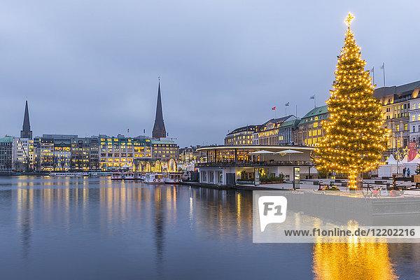 Deutschland  Hamburg  Binnenalster  Jungfernstieg und Weihnachtsbaum