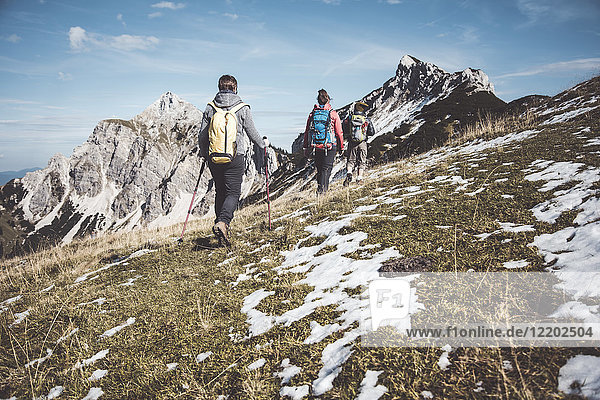 Austria  Tyrol  three hikers walking in the mountains