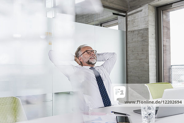 Smiling mature businessman at desk in office leaning back