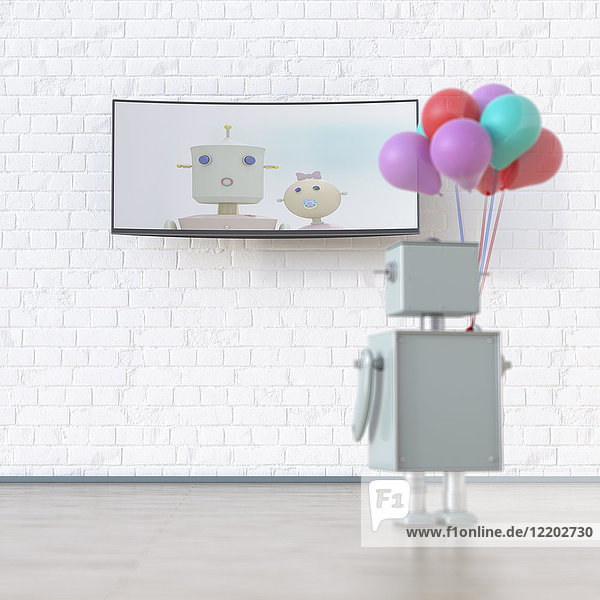 Robot with balloons looking at screen with robot wife and kid  3d rendering