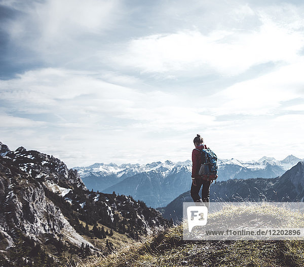 Austria  Tyrol  young woman hiking in the mountains