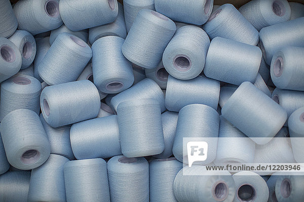 Blue cotton reels