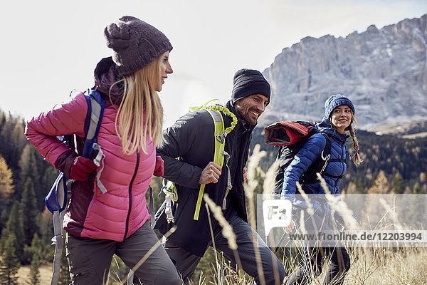 Lächelnde Freunde beim Wandern in den Bergen