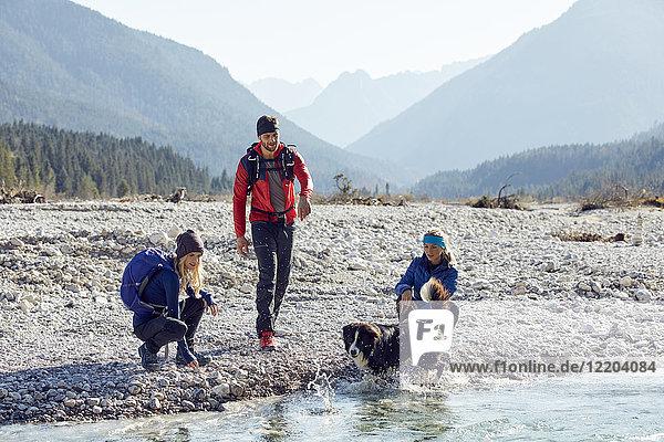 Germany  Bavaria  Karwendel  group of friends hiking with dog at the riverside