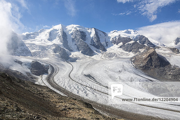 Overview of the Diavolezza and Pers glaciers  St. Moritz  canton of Graubunden  Engadine  Switzerland  Europe