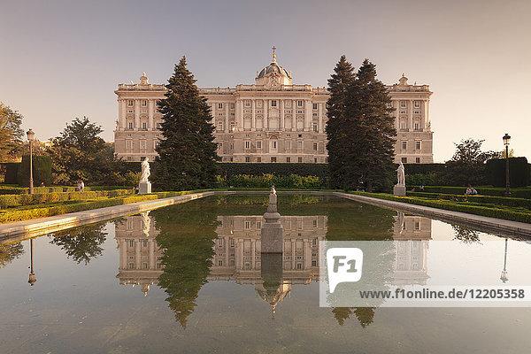 Royal Palace ( Palacio Real)  view from Sabatini Gardens (Jardines de Sabatini)  Madrid  Spain  Europe