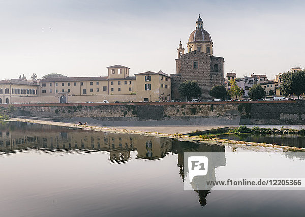 San Frediano in Cestello church with reflection on River Arno in Florence  Tuscany  Italy  Europe