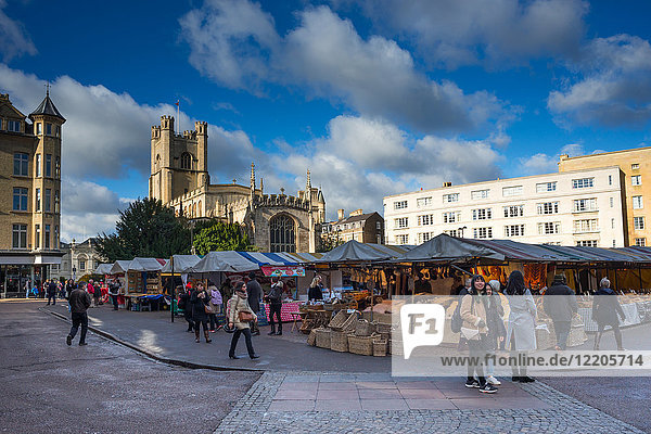 Market Square with Great St. Marys Church  Cambridge  Cambridgeshire  England  United Kingdom  Europe
