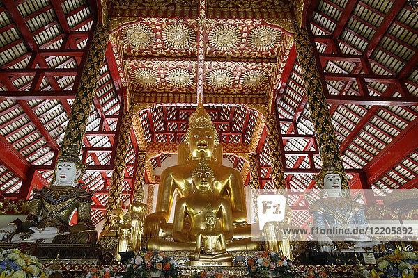 Buddha statues in Wat Suandok  Chiang Mai  Thailand  Southeast Asia  Asia