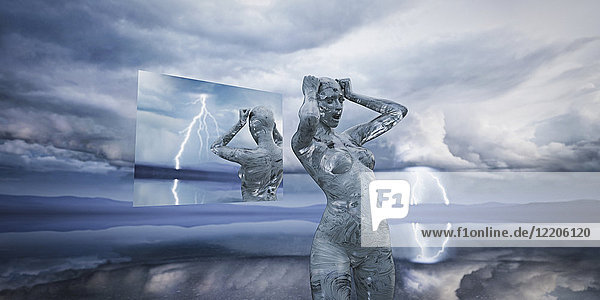 Hologram reflection of frustrated futuristic woman