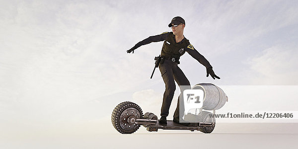 Police officer riding futuristic skateboard