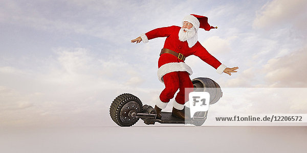 Santa riding futuristic skateboard