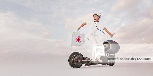 Nurse riding futuristic skateboard