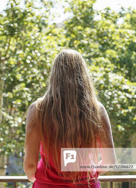 Long hair of Caucasian woman