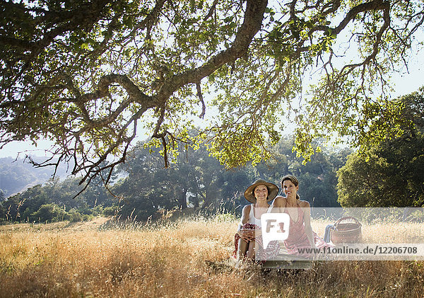Portrait of smiling women relaxing on picnic blanket