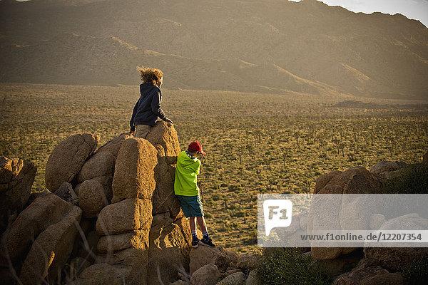 Boys standing on rocks admiring desert landscape