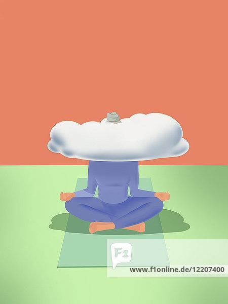 Frau macht Yoga mit dem Kopf in den Wolken