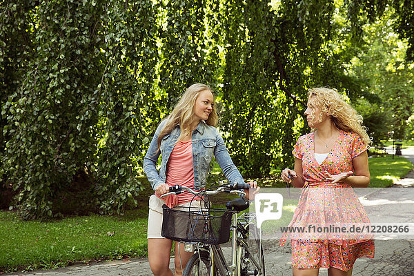 Friends walking with bicycles chatting