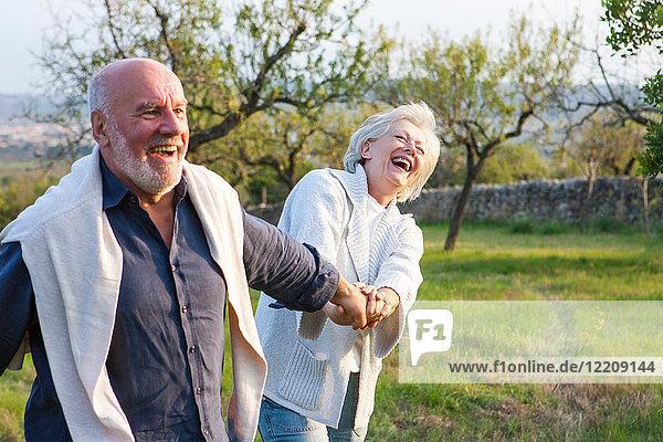 Älteres Ehepaar geht in ländlicher Umgebung spazieren  hält Händchen und albert herum