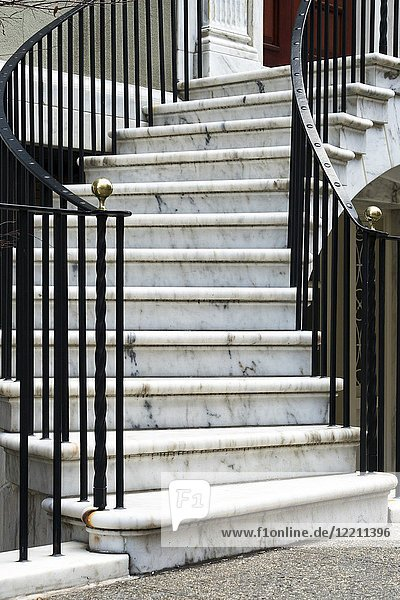 Curving Marble Stairway on an Italianette Styled Manhattan  New York City Mansion.