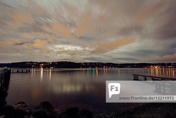 Harbour at dusk  Bainbridge  Washington  USA