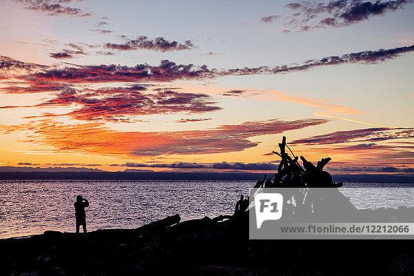 Sunset at beach  Hansville  Washington  USA