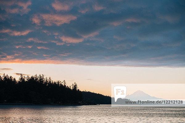 Puget Sound at sunset  Bainbridge  Washington  USA
