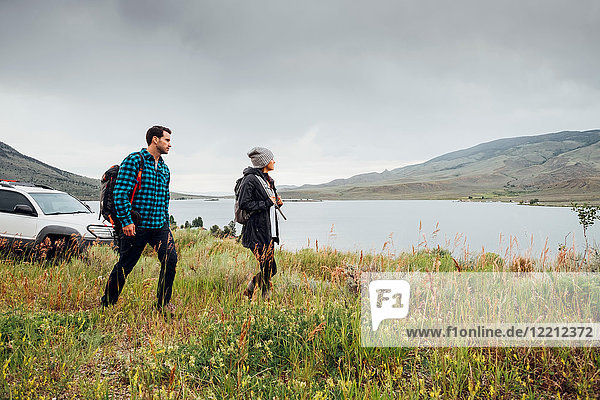 Couple walking near Dillon Reservoir  Silverthorne  Colorado  USA