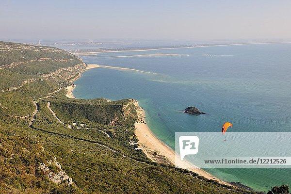 Paraglider in the Arrábida mountains. Setúbal  Portugal.