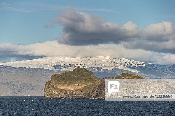 Bjarnarey Island  Eyjafjallajokull Glacier in the background  Westman Islands  (Vestmannaeyjar) Iceland.