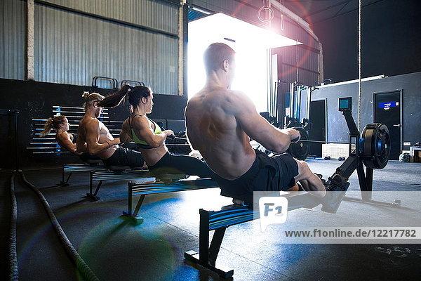 Gruppe von Personen  die in der Turnhalle trainieren  mit Rudergeräten  Rückansicht