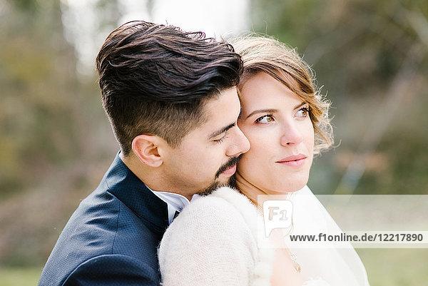 Porträt der Braut und des Bräutigams