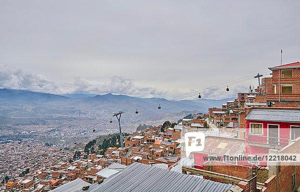 Stadtlandschaft auf dem Dach  El Alto  La Paz  Bolivien  Südamerika