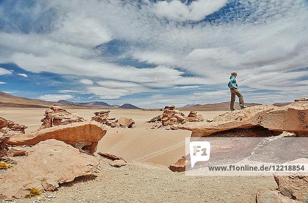 Frau steht auf Fels und schaut auf Aussicht,  Villa Alota,  Potosi,  Bolivien,  Südamerika