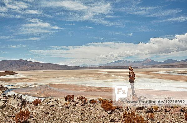 Frau stehend  schaut zur Ansicht  Salar de Chiguana  Chiguana  Potosi  Bolivien  Südamerika