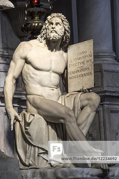 ITALY  VENETO  VENICE  SANTA MARIA GLORIOSA DEI FRARI CHURCH  MONUMENT OF TITIAN  LUIGI-PIETRO-ANDREA ZANDOMENEGHI  1843-1852