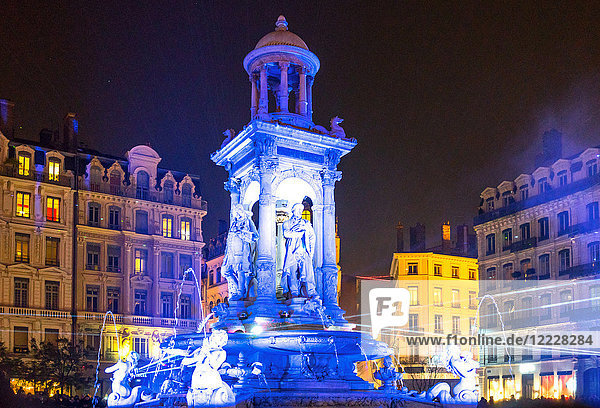 Lyon  France  Festival of Lights  light show of the Etoile fountain in De Jacobins square