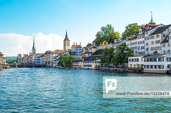 Zurich  Switzerland  panoramic view of the city center on the Limmat river