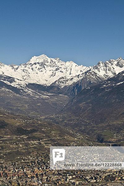 View of Aosta  Aosta Valley  Italy