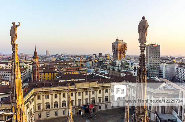 Italy  Lombardy  Milan  skyline with Velasca Tower viewed from Duomo roof