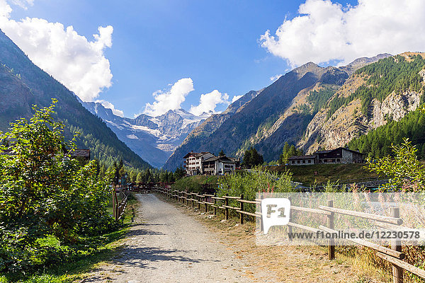 Italy  Aosta Valley  Valnontey  Gran Paradiso mountain in backgroung