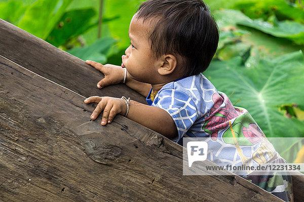 Asia  Thailand  Chiang Mai  Ban Huay Pa Rai Hill Tribe Village  children playing