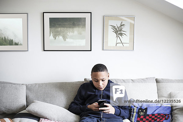 Teenage boy using mobile phone on sofa in living room