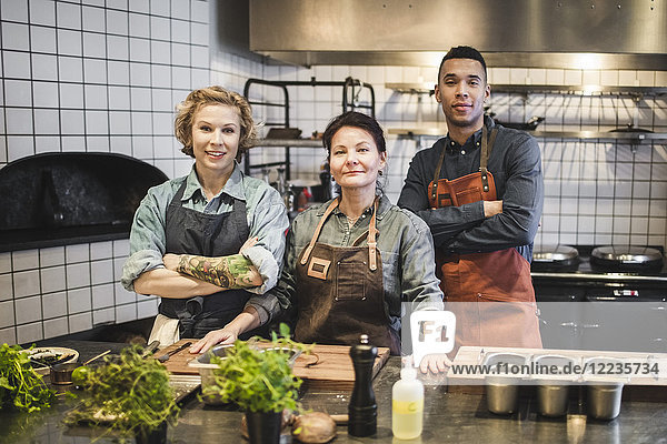 Portrait of confident chefs standing at kitchen counter in restaurant