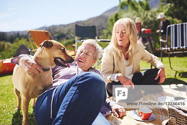 Fröhliche aktive Seniorenfrauen und Hund beim sonnigen Sommerpicknick