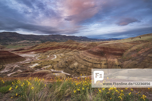 USA  Oregon  Painted Hills  Scenic view of striped mountains