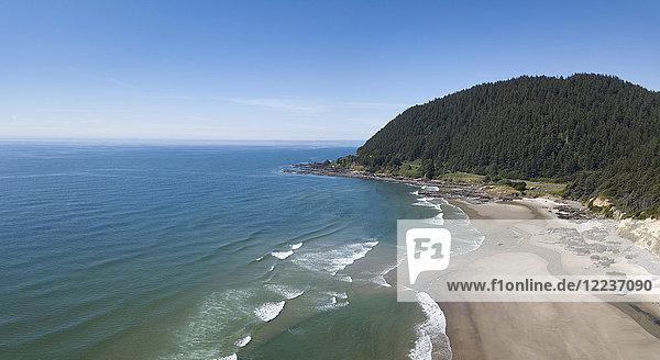 USA  Oregon  Headland  Elevated view of sea coast