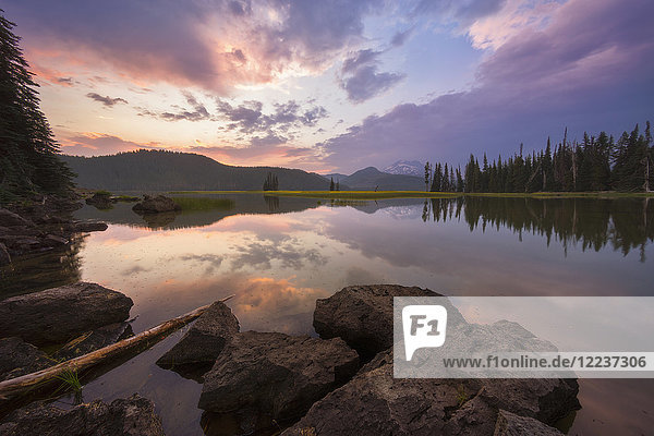 USA  Oregon  Landscape with Sparks Lake at sunset