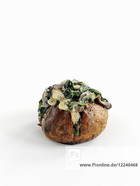 Baked Potatoe mit Spinat  Knoblauch und Pilzen