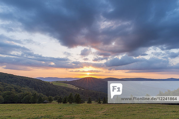Mountain landscape with sunset over the Vosges Mountains at Le Markstein in Haut-Rhin  France